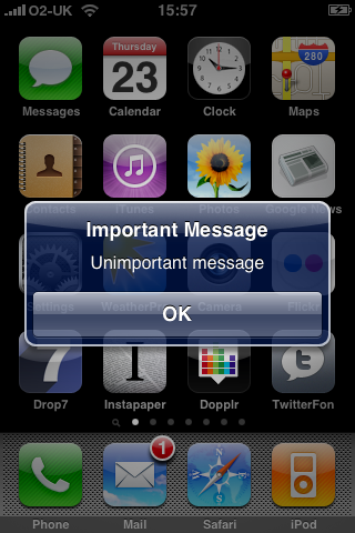 Important Message on the iPhone